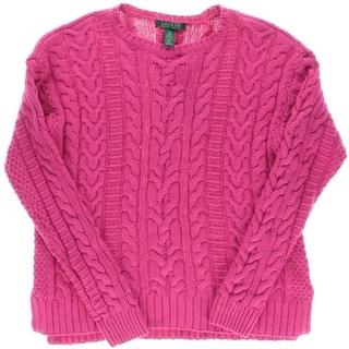 Lauren Ralph Lauren Womens Crewneck Cable Knit Pullover Sweater