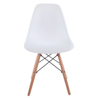 VECELO Modern Eames Side Chair & Dining Room Chair in White (white)