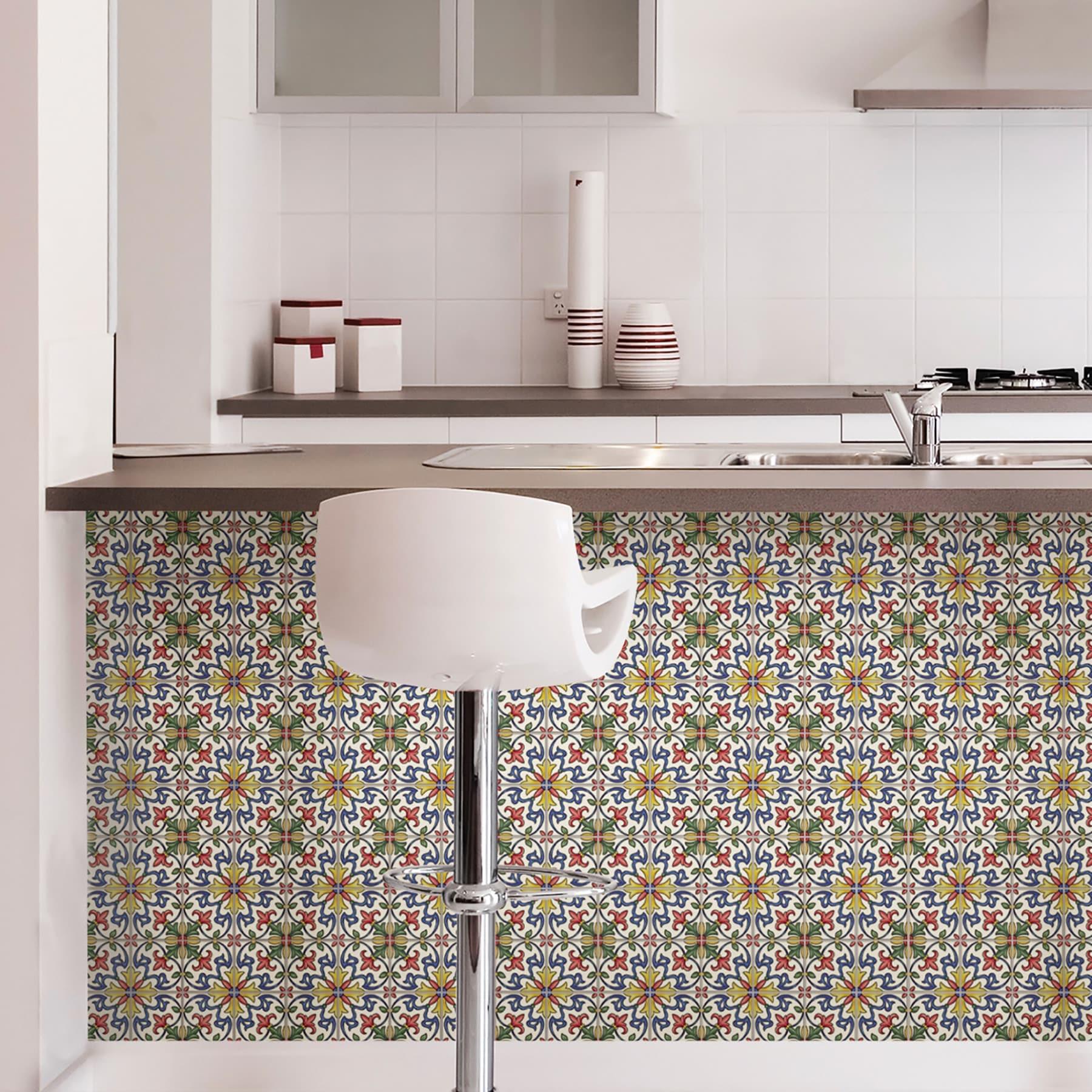 Brewster Nh2365 Tuscan 10 X Square Fl Self Adhesive Resin L And Stick Backsplash Tiles Multi Colored