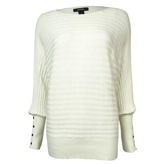 Alfani Women's Button-Trim Dolman Rib-Knit Sweater