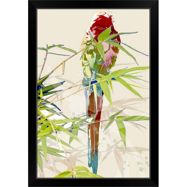 """""""Bird with Chinese bamboo leaves"""" Black Framed Print"""