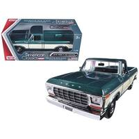 1979 Ford F-150 Pickup Truck 2 Tone Green/Cream 1/24 Diecast Model Car by Motormax