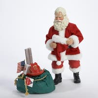 "10"" Fabriche ""Reflecting Fireman"" 9-11 Memorial Santa Christmas Figure - RED"