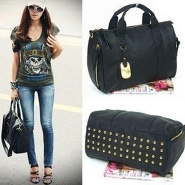 31babc8886f26 Clutch Messenger Tote Women's Satchel PU Rivet Leather Bag Black  Korean style