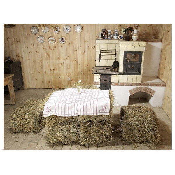 """Farmhouse kitchen with haybales for table"" Poster Print"