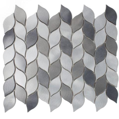 "TileGen. Leaf Shape 1.25"" x 2.75"" Aluminum Metal Mosaic Tile in Silver/Gray Wall Tile (10 sheets/11sqft.)"