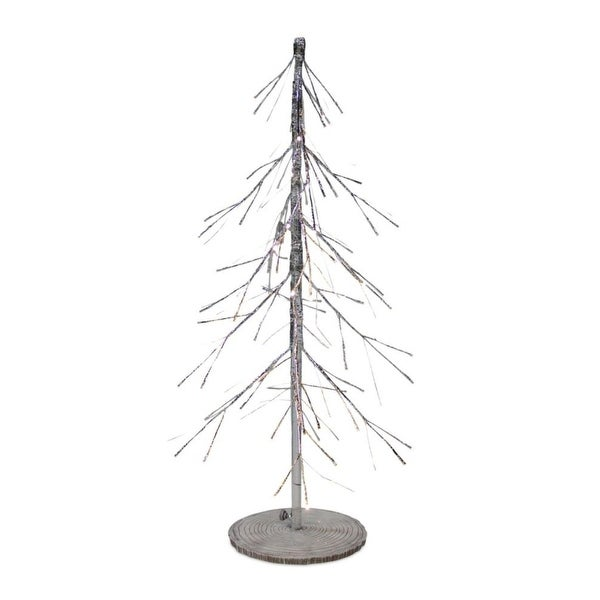 "36"" Silver Polyresin Christmas Tree With LED Lights"