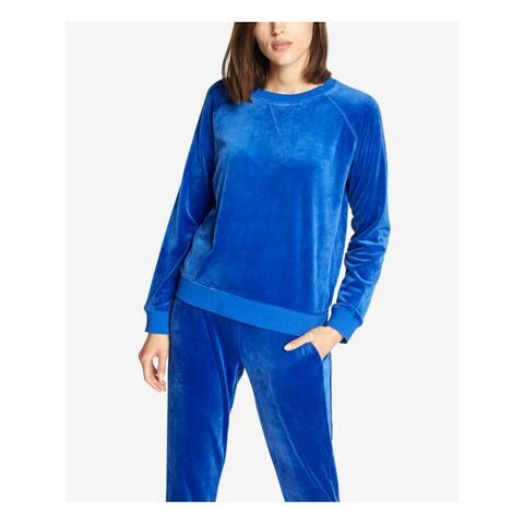 SANCTUARY Womens Blue Velour Long Sleeve Crew Neck Sweater Size XS