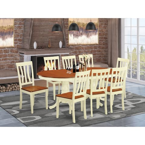 Rubberwood 9-piece Dining Room Set Includes Double Pedestal Table and 8 Kitchen Chairs - Buttermilk and Cherry Finish