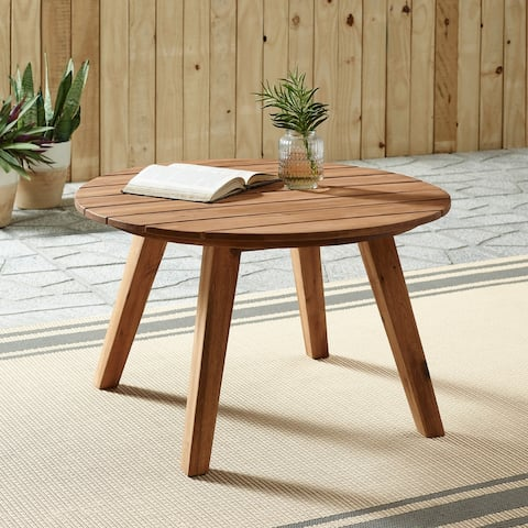 """30"""" Acacia Slat Round Coffee Table by Havenside Home"""