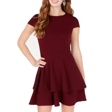 B. Darlin Merlot Junior A-Line Dress Tiered Fit & Flare