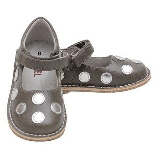 L'Amour Grey Silver Dot Velcro Strap Mary Jane Shoe Toddler Girl 5-10