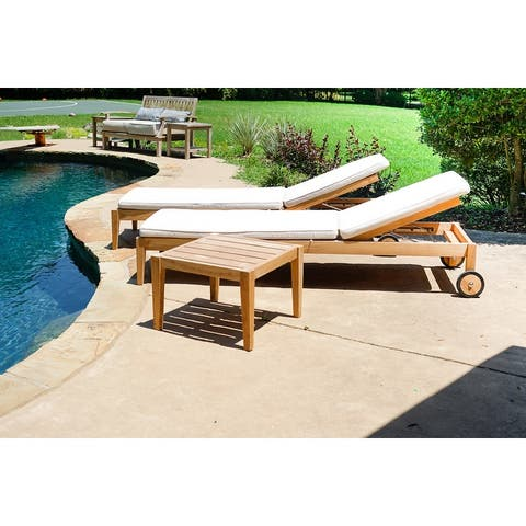 Posh Pollen Teak Outdoor Patio 3-Piece Set with Sunbrella Chaise Loungers and Side Table