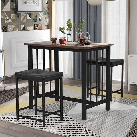 3-Piece Bar Table with 2 Bar Stools Industrial for Kitchen (Brown)
