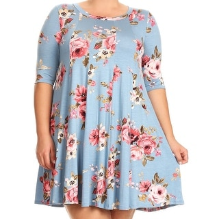 Women Plus Size Half Sleeve Floral Pleated Casual Tunic Top Dress Blue