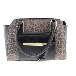 Anne Klein Womens Shimmer Down Patent Animal Print Satchel Handbag - Camel/Black - Medium