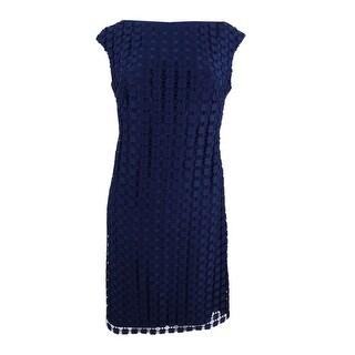 Lauren by Ralph Lauren Women's Geometric Square Lace Dress - lighthouse navy