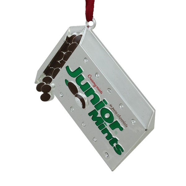 """3"""" Silver Plated Junior Mints Candy Bar Logo Christmas Ornament with European Crystals"""
