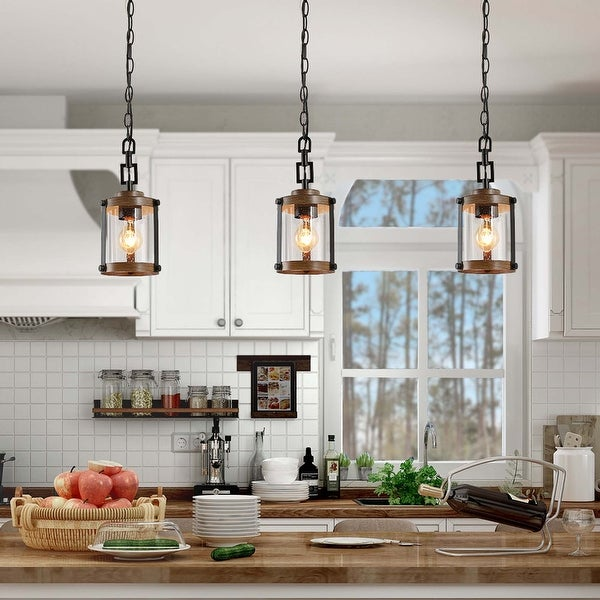 """Modern Farmhouse Pendants Lighting for Kitchen Island Faux Wood Hanging Ceiling Lamp - W 6""""x H 14.5"""" - W 6""""x H 14.5"""". Opens flyout."""