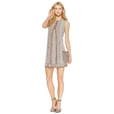 Studio M Women's Ivory Pleated Sleeveless Geo-Print Shift Dress (X-Large) - Multi