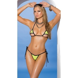 Green And Black Micro String Bikini, Green And Black Bikini - One Size Fits Most
