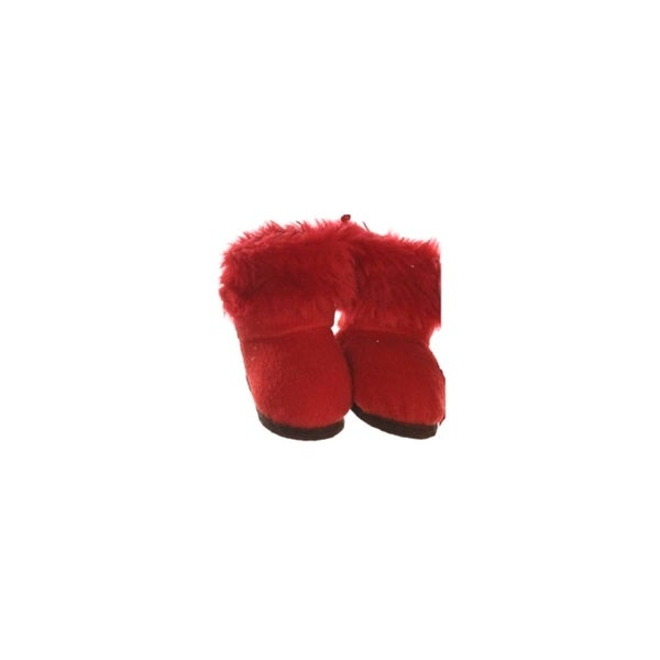 "3"" Fashion Avenue Festive Red Plush Faux Fur Winter Boots Christmas Ornament"