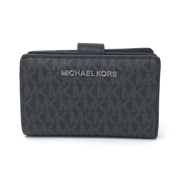 c1533791d7a68a Michael Kors Jet Set Travel Signature PVC Bifold Zip Coin Wallet. Click to  Zoom