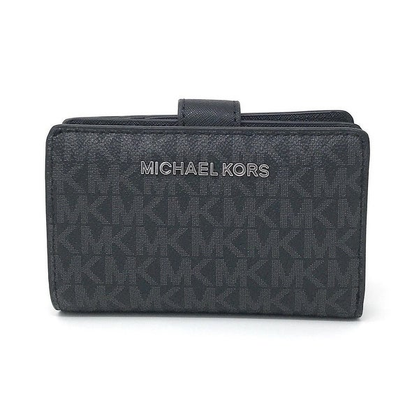 7e3be80697b5 Shop Michael Kors Jet Set Travel Signature PVC Bifold Zip Coin ...
