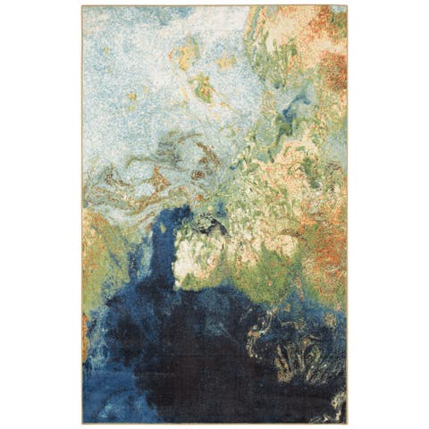"Mohawk Aurora Marble Ink Nylon Area Rug (7'6 x 10') - 7'6"" x 10'"