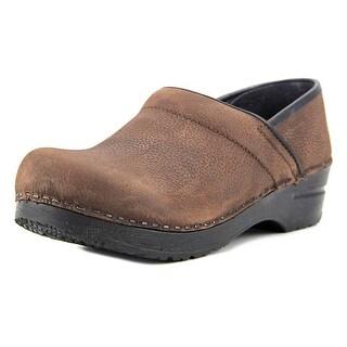 Sanita Professional Textured Women Round Toe Leather Brown Clogs