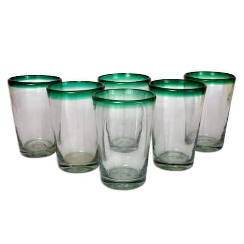 "Handmade Blown Green Rim Conical Drinking Glasses (Mexico) - 6.0"" H x 3.9"" Diam."