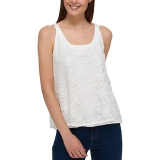 Tommy Hilfiger Womens Tank Top Mesh Embroidered