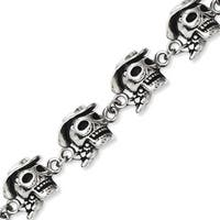 Stainless Steel Antiqued Pirates with Hat 8.5in Bracelet