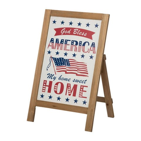 Glitzhome Wooden Spring Welcome Word Porch Sign Standing Decor