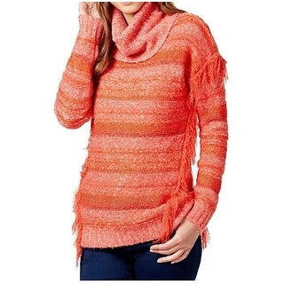 Kensie NEW Orange Fringed Women's Size Small S Turtleneck Sweater