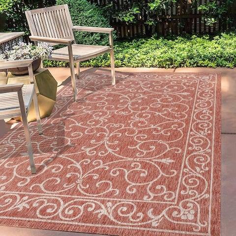 JONATHAN Y Charleston Filigree Textured Indoor/Outdoor Area Rug