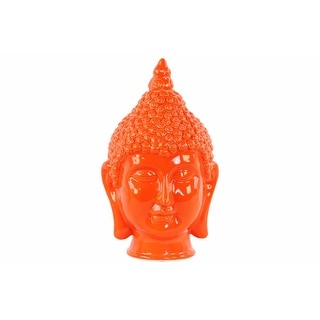 Ceramic Buddha Head Figurine with Pointed Ushnisha, Glossy Orange