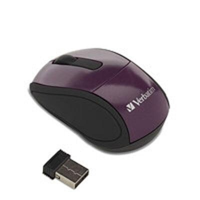 Verbatim Wireless Mini Nano Travel Mouse, Purple 97473