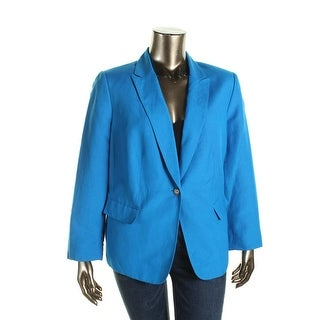 Tahari Womens Plus Regina Linen Notch Collar One-Button Blazer