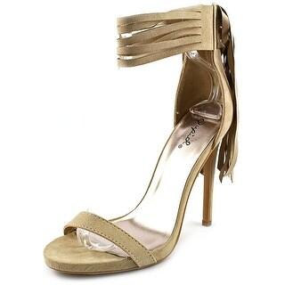 Qupid Glee-60X Women Open-Toe Synthetic Tan Heels