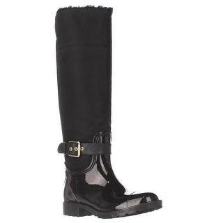 Marc Fisher Calisa Cuffed Knee High Rain Boots, Black