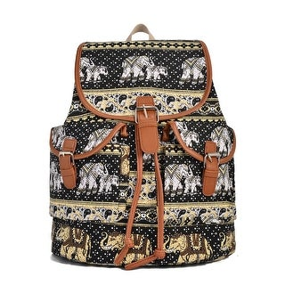 Hearty Trendy Girls Women Black Elephant Print Exterior Pockets Backpack