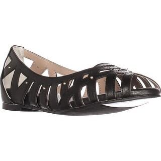 TS35 Zuly Cutout Peep Toe Ballet Flats, Black