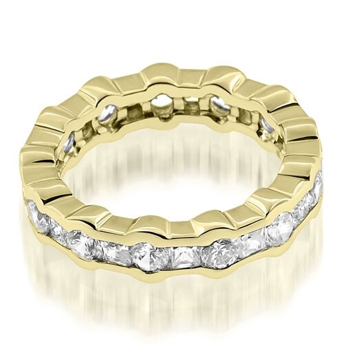 2.50 cttw. 14K Yellow Gold Stylish Channel Round Princess Diamond Eternity Band