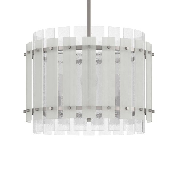 """Park Harbor PHPL5504 Brushed Nickel Sea Glass 9"""" Wide Single Light Mini Pendant with Frosted Seeded Glass Panels"""