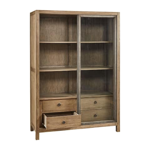 Carrington Glass Door Display Case with Drawers & Shelving, Aged Elm
