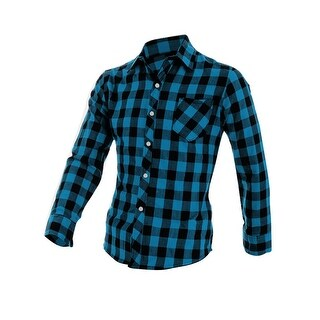 Unique Bargains Men's Long Sleeve Button Down Check Pattern Pocket Slim Fit Shirts