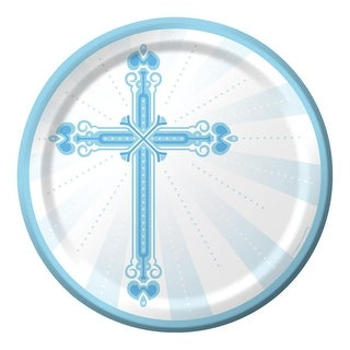 Club Pack of 180 Blue and White Communion Party Plates From the Blessings Collection 9""