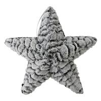 "9.5"" Grey and White Plush Star Christmas Ornament"
