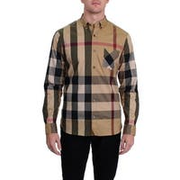 Burberry Mens Thornaby Button-Down Shirt House Check Cotton Stretch